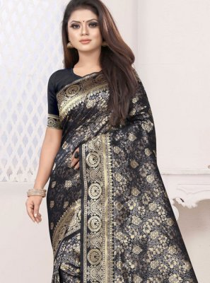 Art Silk Weaving Black Classic Saree