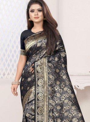 Art Silk Weaving Black Classic Saree