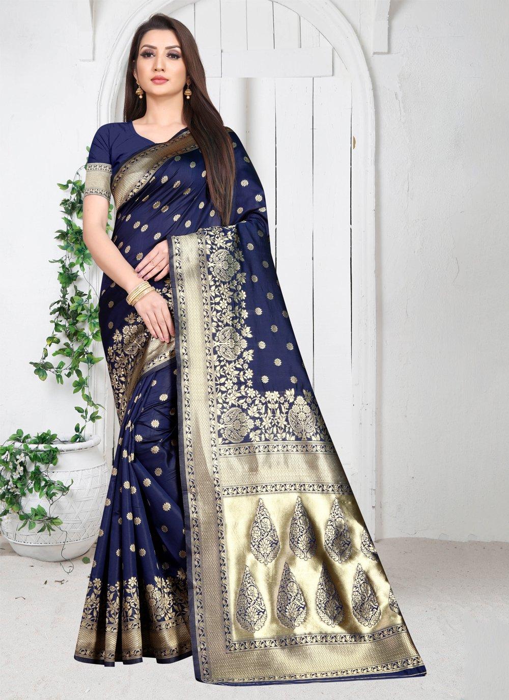 Art Silk Weaving Blue Casual Saree