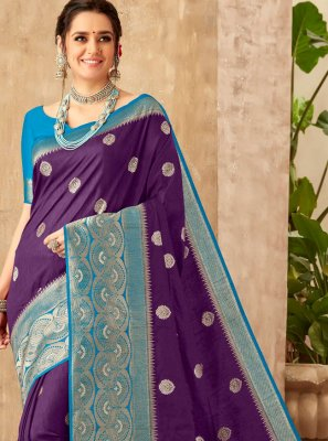 Art Silk Weaving Blue Classic Saree