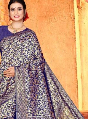 Art Silk Weaving Blue Traditional Designer Saree