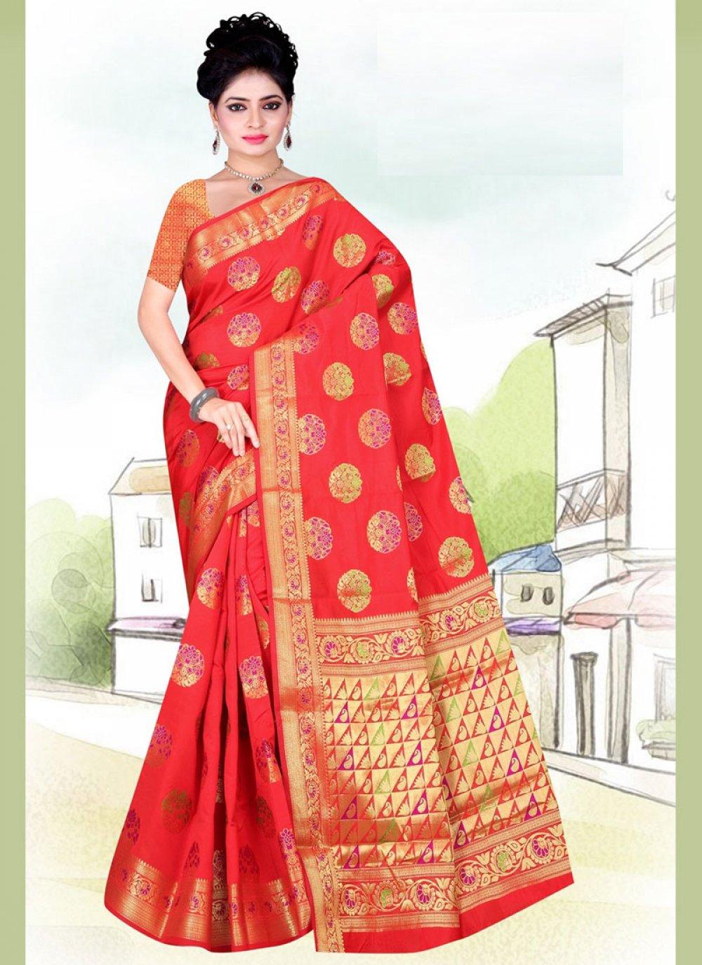Art Silk Weaving Casual Saree in Red