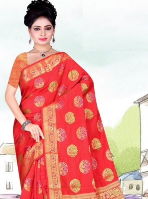 Art Silk Weaving Casual Saree in Red