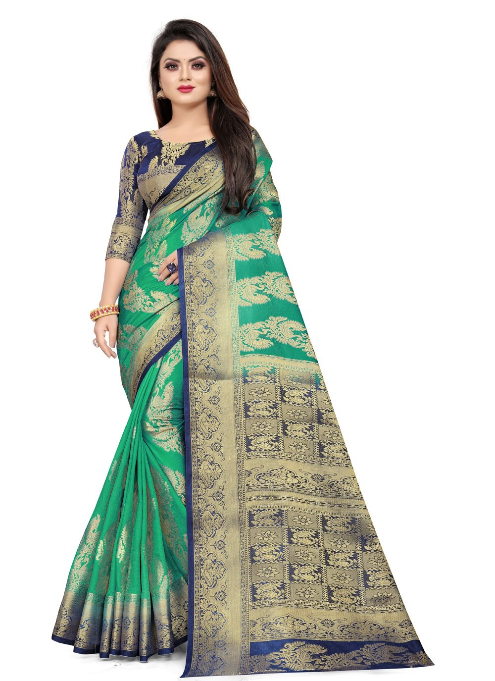 Art Silk Weaving Classic Designer Saree in Green