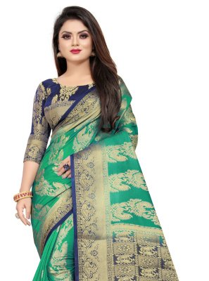 Art Silk Weaving Classic Designer Saree in Green