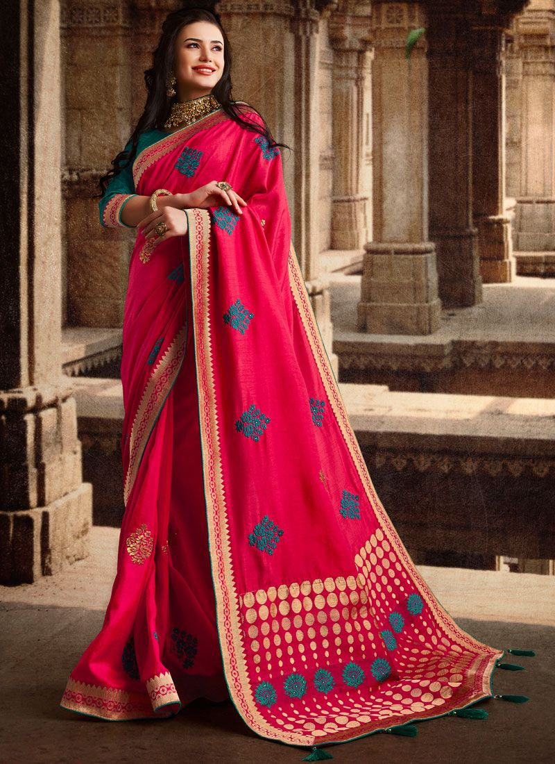 Art Silk Weaving Designer Traditional Saree in Hot Pink