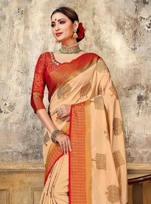 Art Silk Weaving Designer Traditional Saree in Peach