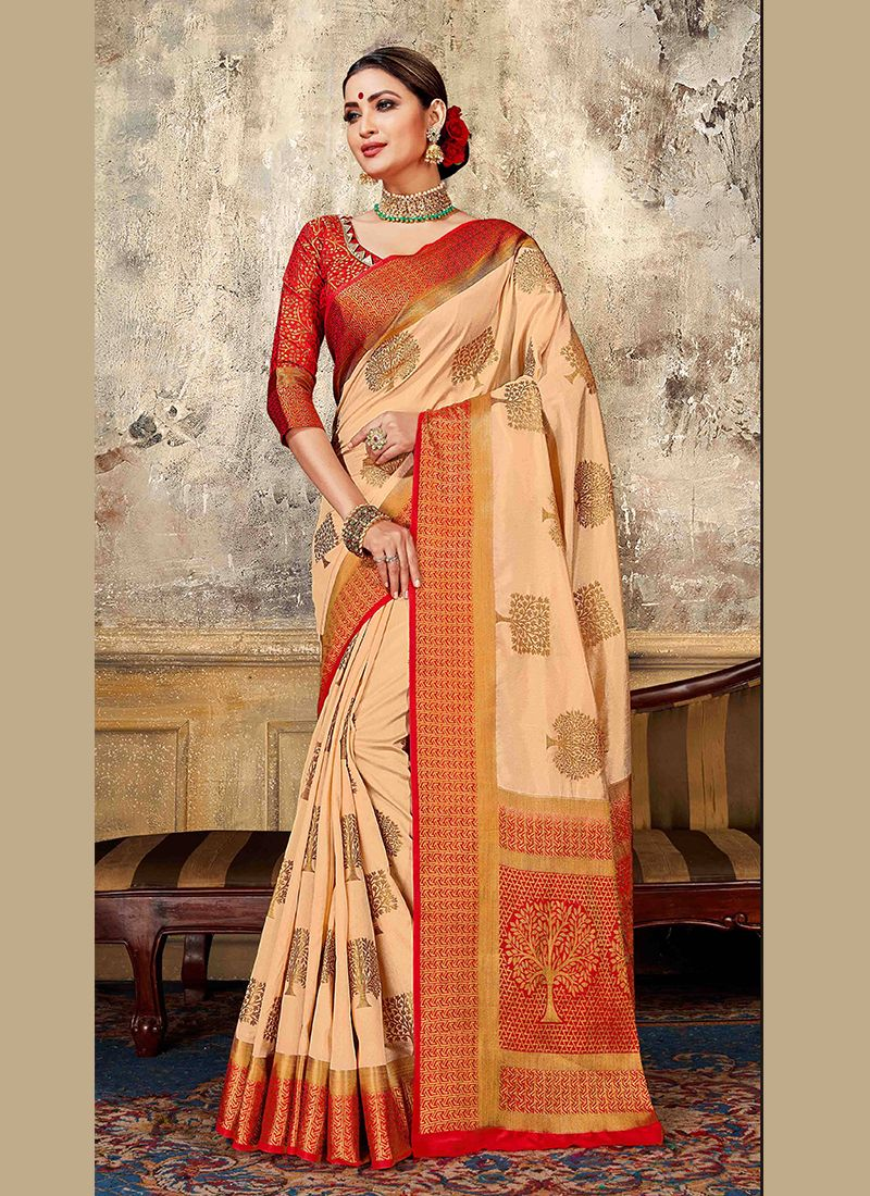 Art Silk Weaving Designer Traditional Saree in Peach