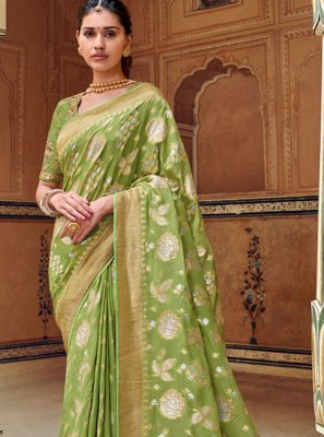 Art Silk Weaving Green Designer Traditional Saree