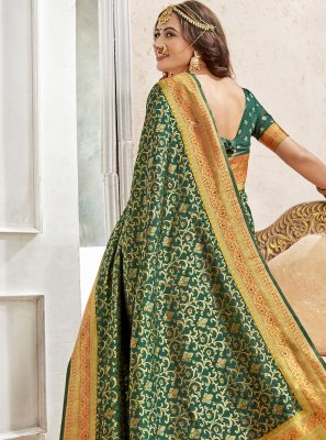 Art Silk Weaving Green Saree