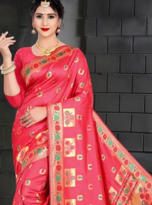Art Silk Weaving Hot Pink Designer Traditional Saree
