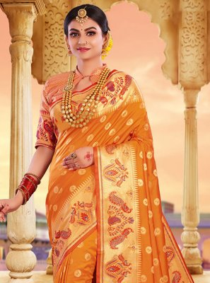 Art Silk Weaving Mustard Classic Saree