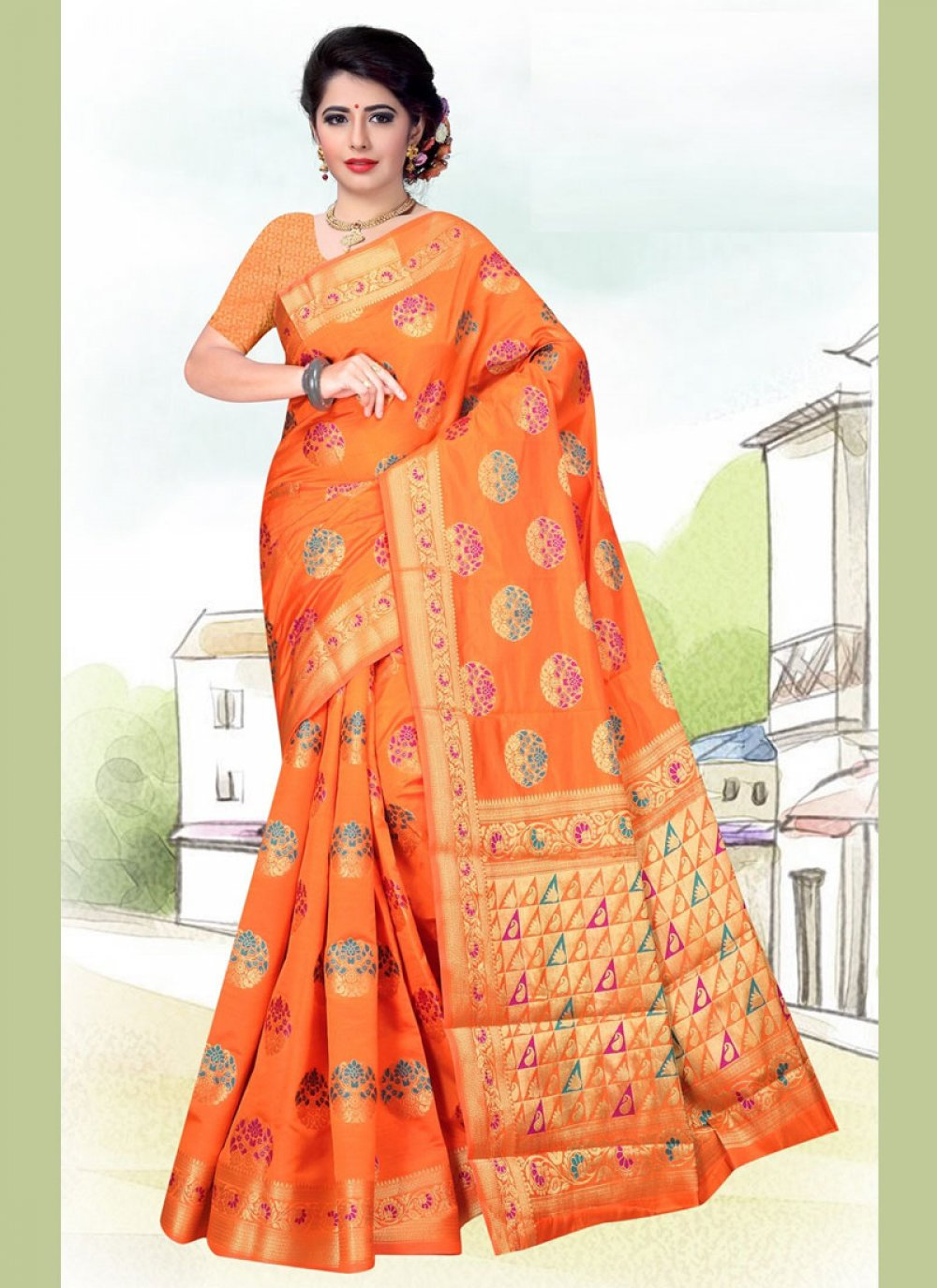 Art Silk Weaving Orange Casual Saree