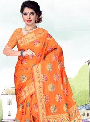 Art Silk Weaving Orange Casual Saree