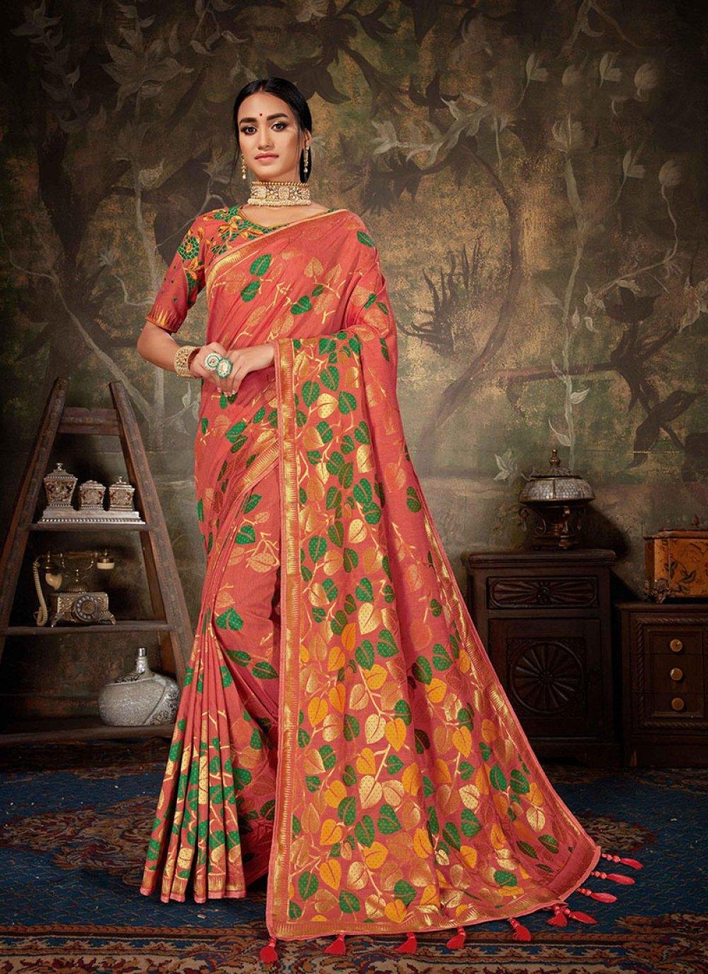 Art Silk Weaving Peach Designer Traditional Saree