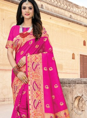 Art Silk Weaving Pink Classic Saree