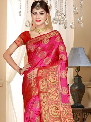Art Silk Weaving Pink Designer Saree
