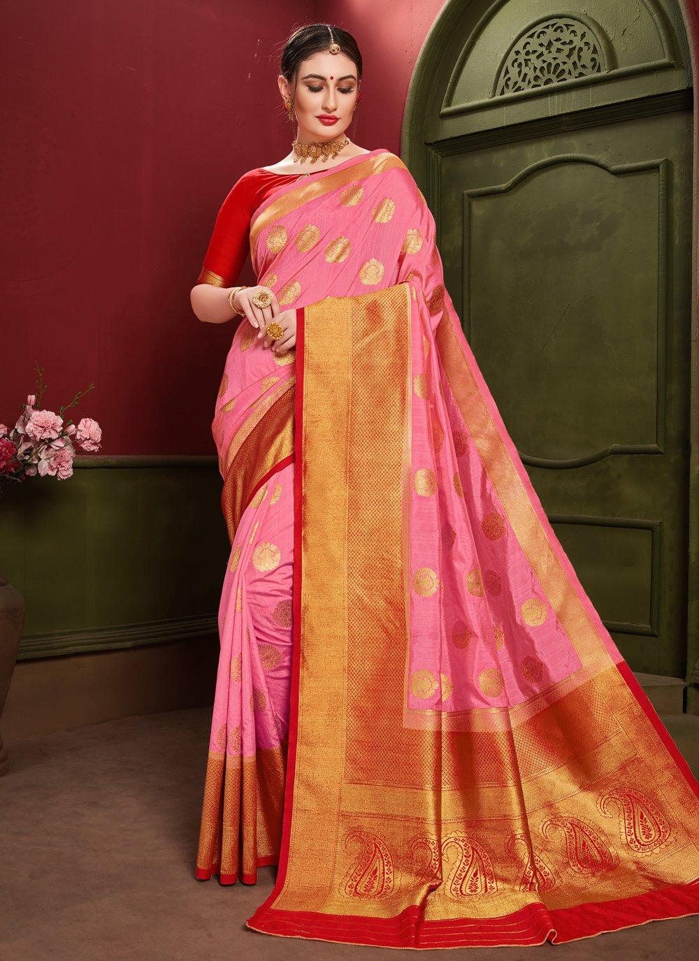 Art Silk Weaving Pink Designer Saree