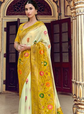 Art Silk Weaving Printed Saree in Yellow