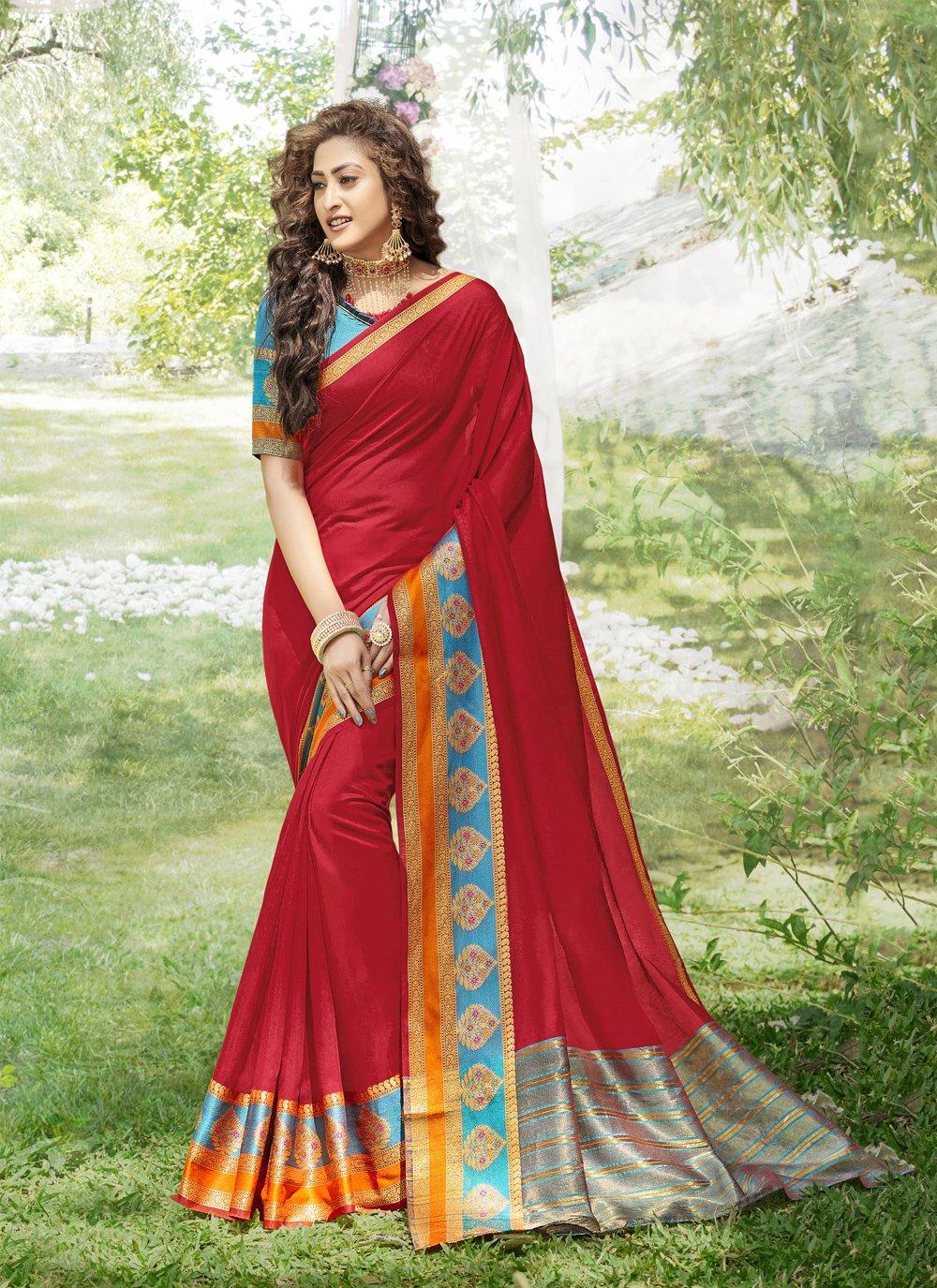 Art Silk Weaving Red Classic Saree