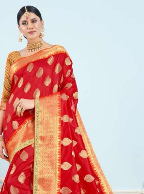Art Silk Weaving Red Classic Saree