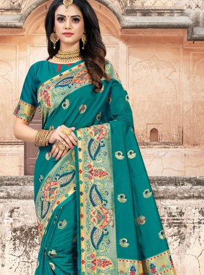 Art Silk Weaving Teal Classic Designer Saree