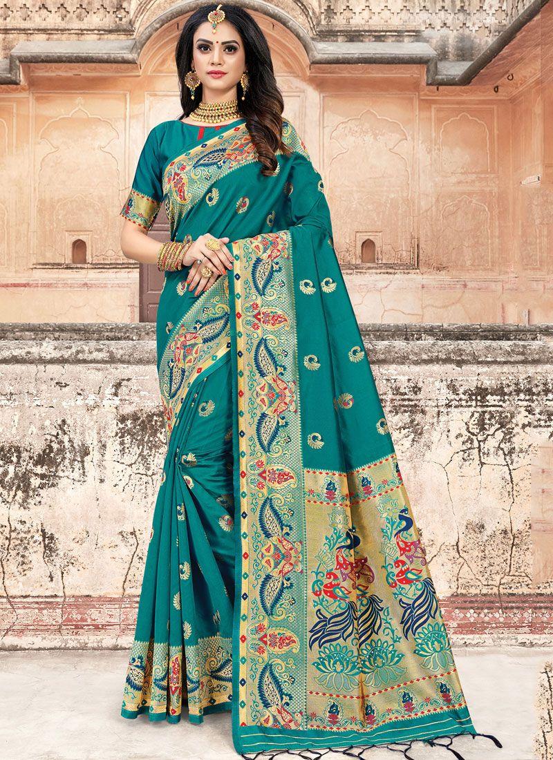 Art Silk Weaving Teal Classic Designer Saree