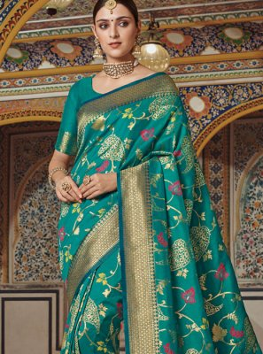 Art Silk Weaving Traditional Designer Saree in Green