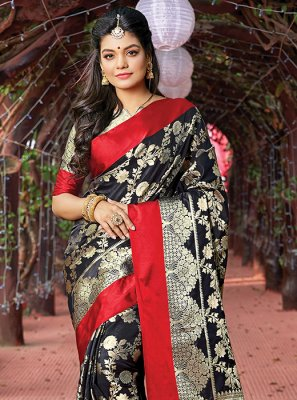 Art Silk Weaving Traditional Saree in Black