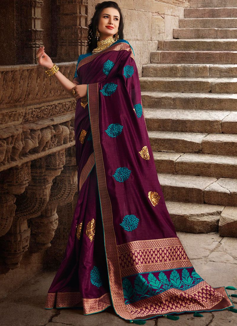 Art Silk Weaving Wine Traditional Designer Saree