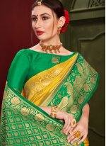 Art Silk Weaving Yellow Classic Saree