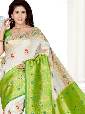 Art Silk White Contemporary Saree