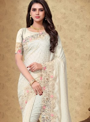 Art Silk White Embroidered Designer Saree