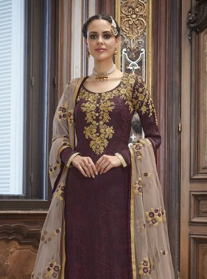Art Silk Wine Embroidered Churidar Salwar Kameez
