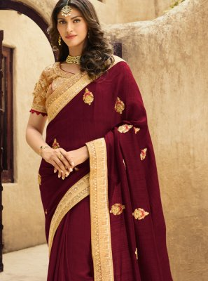 Art Silk Wine Resham Designer Traditional Saree