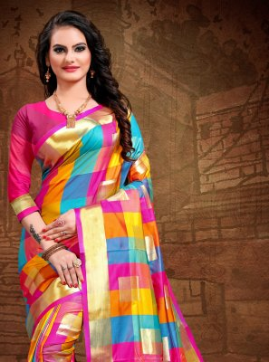 Art Silk Woven Classic Designer Saree in Pink