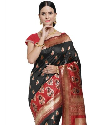 Art Silk Woven Classic Saree in Black and Red