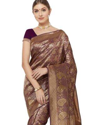 Art Silk Woven Designer Saree in Purple