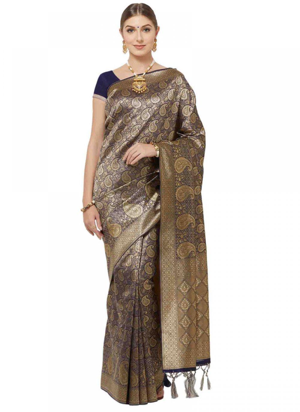 Art Silk Woven Navy Blue Classic Designer Saree