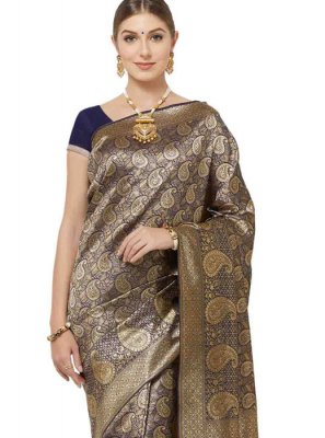 Art Silk Woven Navy Blue Classic Designer Saree