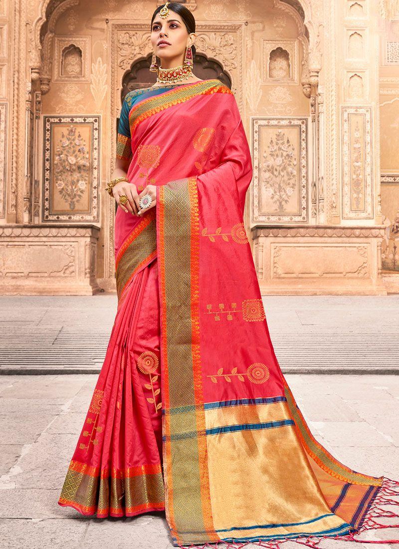 Art Silk Woven Pink Designer Traditional Saree