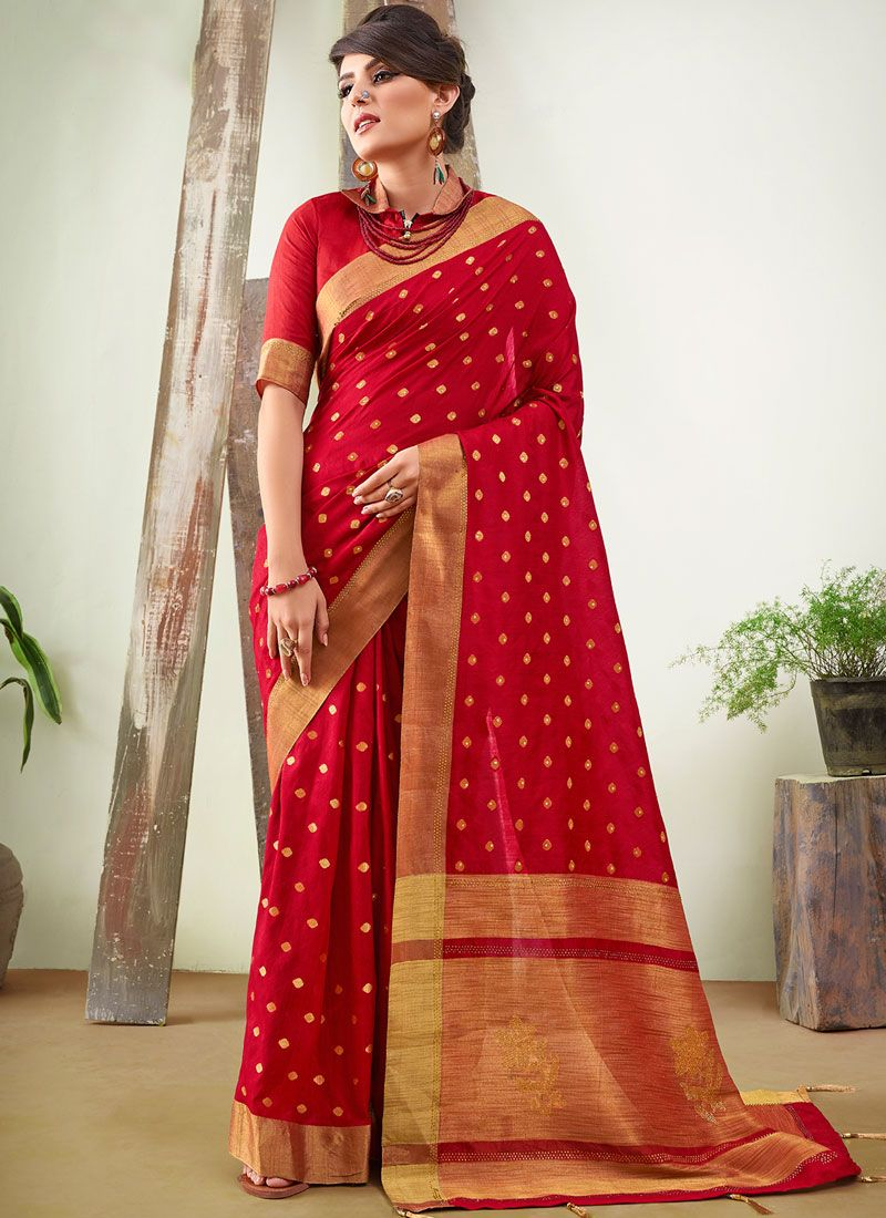 Art Silk Woven Red Traditional Saree