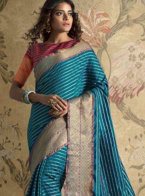 Art Silk Woven Traditional Designer Saree in Blue