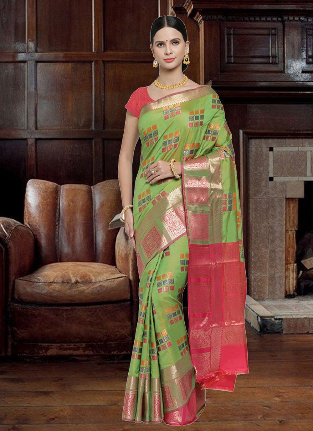 Art Silk Woven Traditional Saree