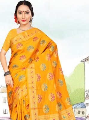 Art Silk Yellow Casual Saree