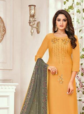 Art Silk Yellow Designer Salwar Kameez