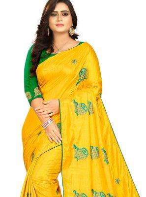 Art Silk Yellow Embroidered Classic Designer Saree
