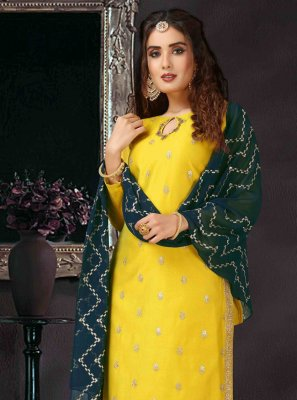 Art Silk Yellow Embroidered Pant Style Suit
