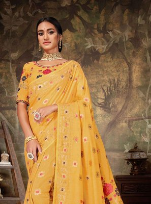 Art Silk Yellow Weaving Traditional Designer Saree