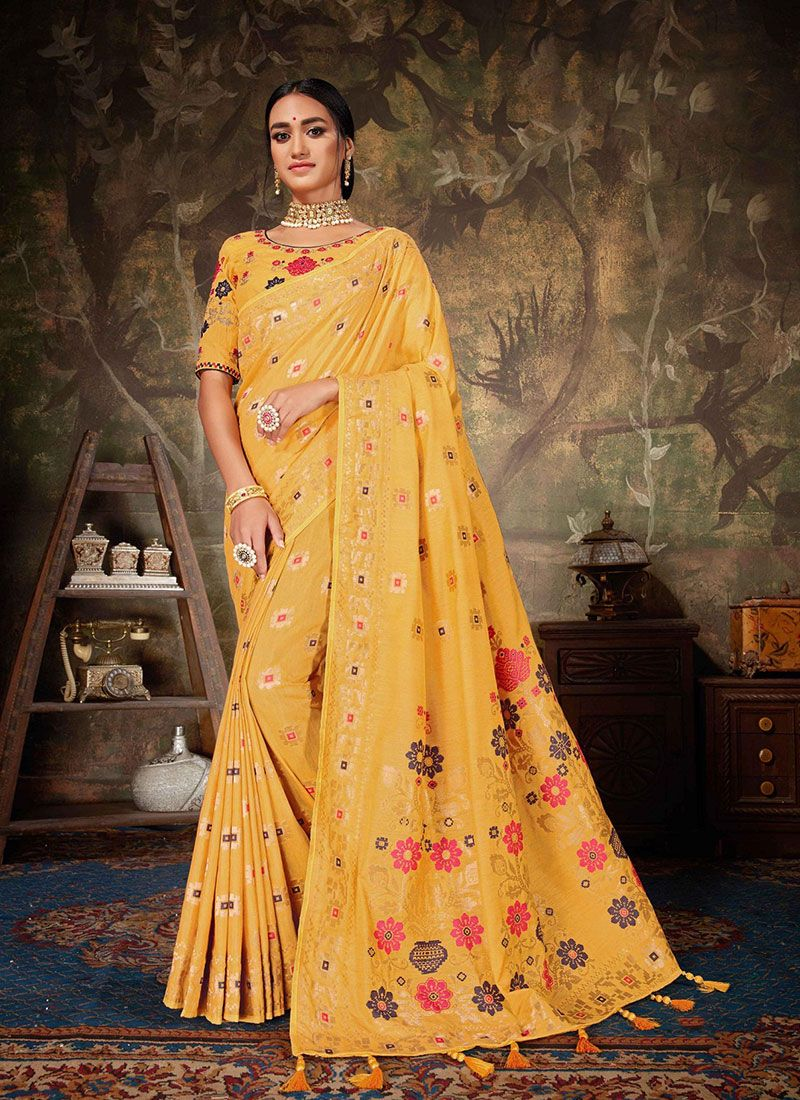 Art Silk Yellow Weaving Traditional Designer Saree